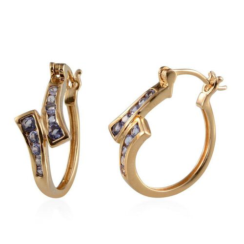 Tanzanite (Rnd) Hoop Earrings (with Clasp) in 14K Gold Overlay Sterling Silver 1.000 Ct.