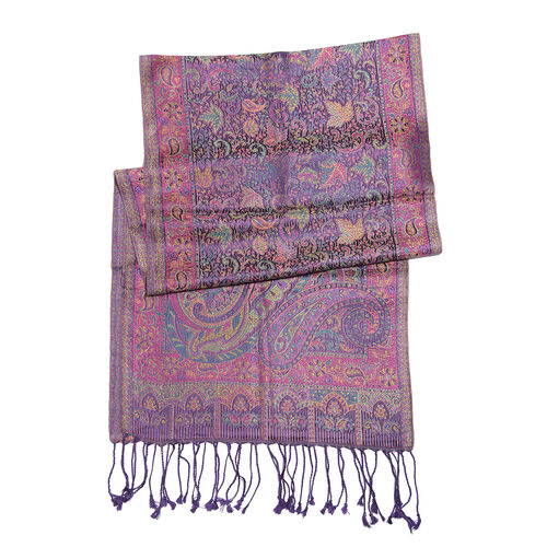 SILK MARK - 100% Superfine Silk Magenta, Green, Yellow, and Multi Colour Paisley and Floral Pattern Jacquard Jamawar Scarf with Tassels (Size 170x35 Cm)