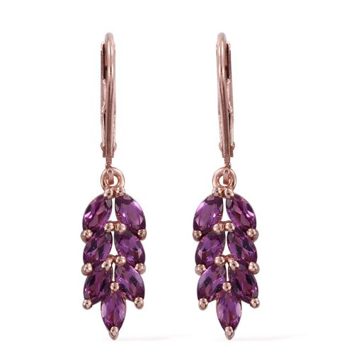 Rare Mozambique Grape Colour Garnet (Mrq) Dangling Lever Back Earrings in Rose Gold Overlay Sterling Silver 2.500 Ct.