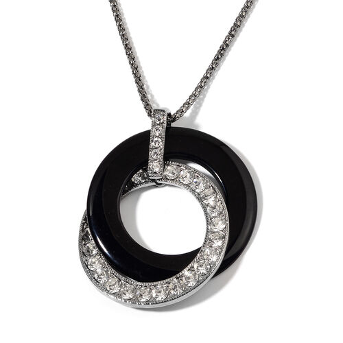 AAA White Austrian Crystal and Simulated Black Stone Pendant With Chain (Size 30 with 1 inch Extender) in Black Tone