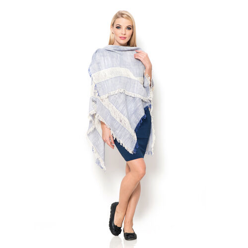 100% Cotton Blue and Off White Colour Kimono (Size 110x75 Cm)