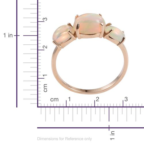 9K Y Gold Ethiopian Welo Opal (Ovl 1.35 Ct) 3 Stone Ring 2.500 Ct.