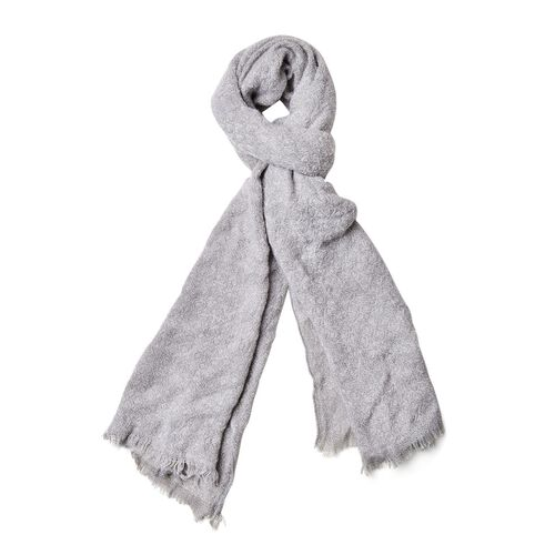 Grey Colour Knitted Scarf with Fringes (Size 190X55 Cm)