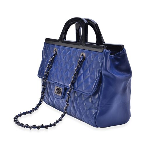 Navy Colour Diamond Pattern Tote Bag (Size 33x23x9.5 Cm)
