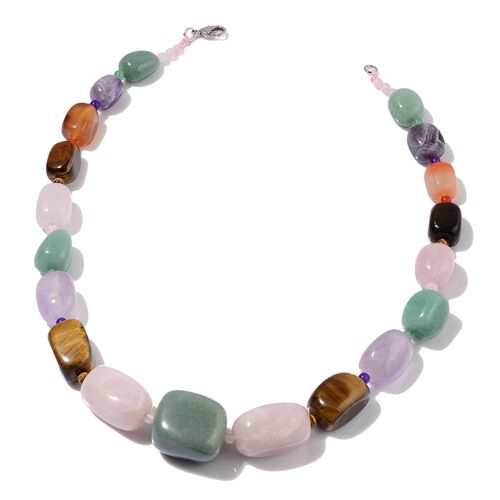 (Option 1) Organic Shape Carnelian Green Aventurine Amethyst and Multi Gem Stones Necklace (Size 20) 670.000 Ct