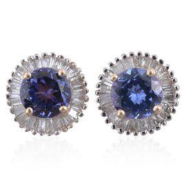 9K Y Gold AA Tanzanite (Rnd), Diamond (I3/G-H) Stud Earrings (with Push Back) 1.750 Ct.