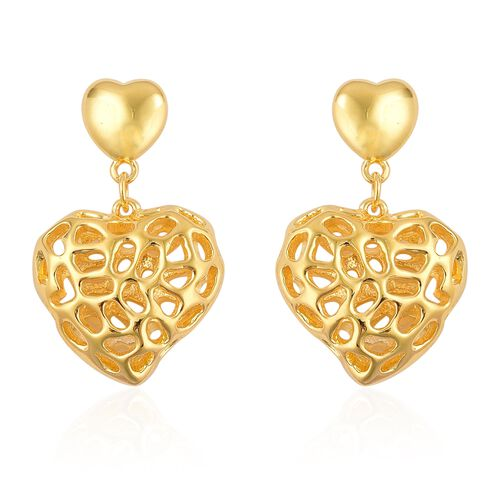 RACHEL GALLEY Yellow Gold Overlay Sterling Silver Amore Heart Earrings (with Push Back), Silver wt 6.93 Gms.