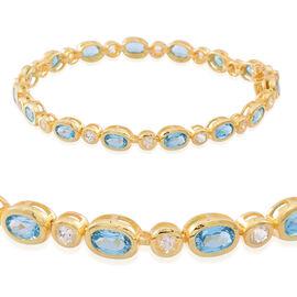 Swiss Blue Topaz (Ovl), White Topaz Bracelet (Size 7.5) in 14K Gold Overlay Sterling Silver 10.000 Ct.