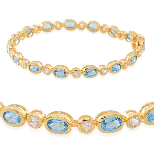 Swiss Blue Topaz (Ovl), White Topaz Bracelet (Size 7.5) in 14K Gold Overlay Sterling Silver 10.000 Ct.
