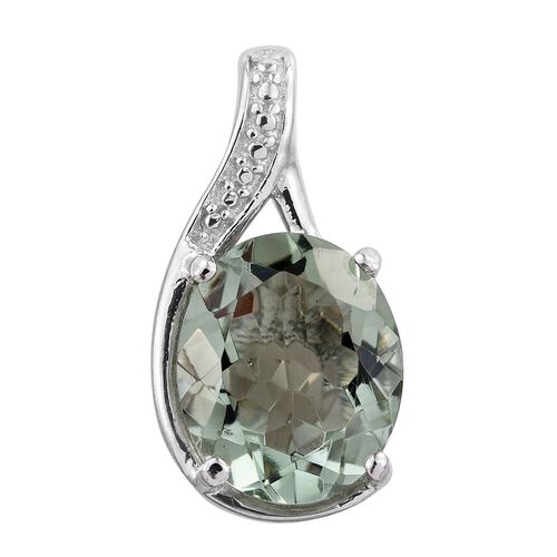 Green Amethyst (Ovl) Solitaire Pendant in Platinum Overlay Sterling Silver 3.250 Ct.