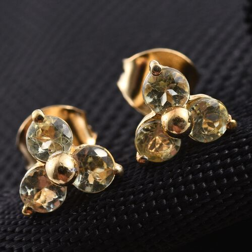 Natural Canary Apatite (Rnd) Stud Earrings in 14K Gold Overlay Sterling Silver 1.000 Ct.