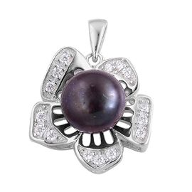 Fresh Water Peacock Pearl and Simulated White Diamond Pendant in Rhodium Plated Sterling Silver