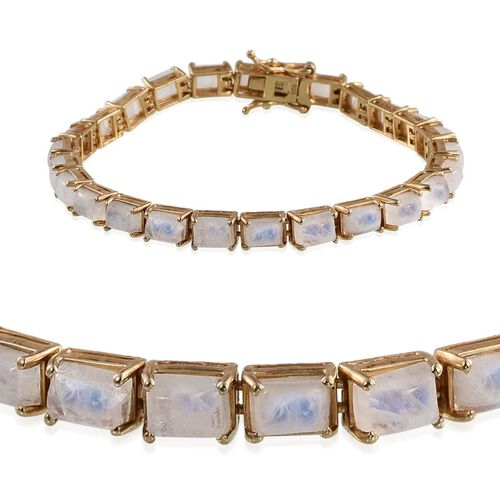 Natural Rainbow Moonstone (Bgt), Natural Cambodian Zircon Bracelet (Size 7.5) in 14K Gold Overlay Sterling Silver 17.800 Ct.