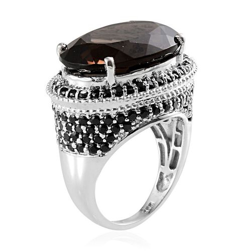Brazilian Smoky Quartz (Ovl 15.00 Ct), Boi Ploi Black Spinel Ring in Platinum Overlay Sterling Silver 17.750 Ct.