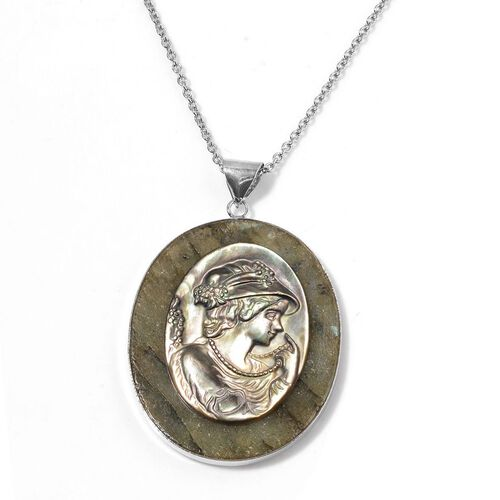 Labradorite and Cameo Pendant With Chain (Size 5.5x4.5 Cm) in Silver Tone with Stainless Steel 150.000 Ct.