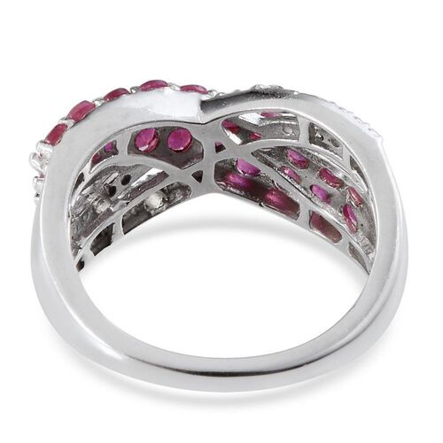 African Ruby (Rnd), White Topaz Ring in Platinum Overlay Sterling Silver 1.520 Ct.