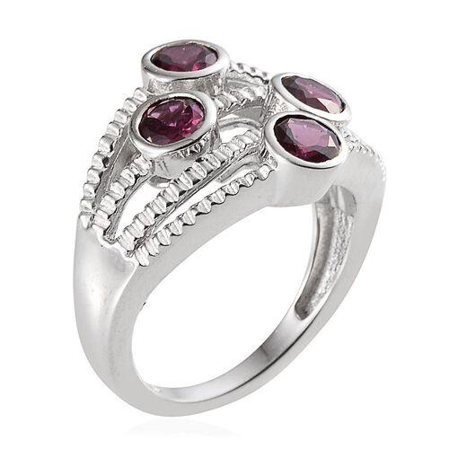Orissa Rhodolite Garnet (Rnd) Ring in Platinum Overlay Sterling Silver 2.400 Ct.