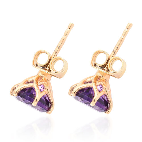Amethyst 2.25 Ct Solitaire Stud Earrings  in Gold Overlay