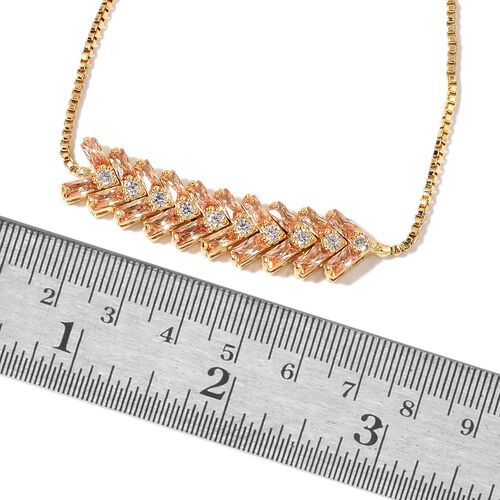 AAA Simulated Champagne and White Diamond Adjustable Bracelet (Size 6.5 to 9) in Yellow Gold Tone