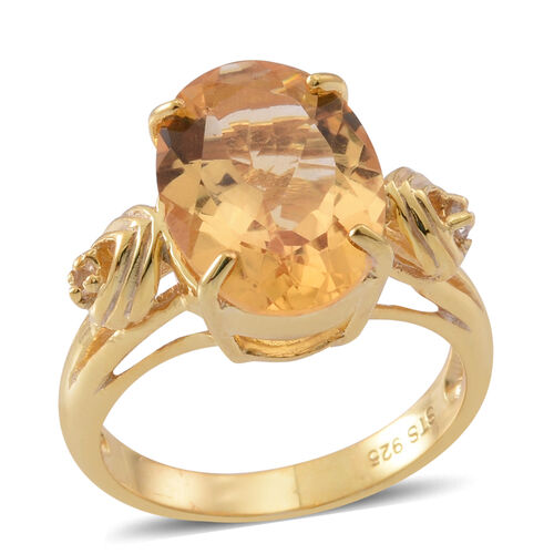Citrine (Ovl 4.94 Ct), White Topaz Ring in 14K Yellow Gold Overlay Sterling Silver 5.000 Ct.