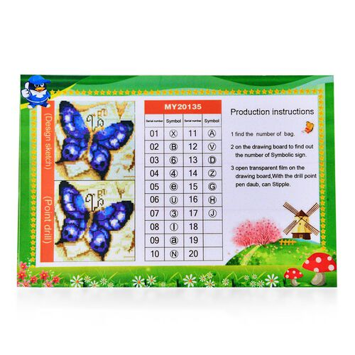 Home Decor - Butterfly Pattern Painting Kit with Multi Colour Crystals (Size 24X24 Cm)