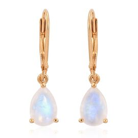 Rainbow Moonstone (Pear) Lever Back Earrings in 14K Gold Overlay Sterling Silver 3.500 Ct.