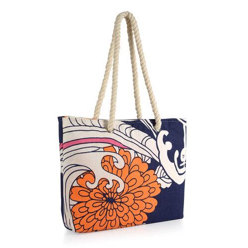 100% Cotton Orange, White, Pink and Multi Colour Floral Printed Blue Colour Kaftan (Free Size), Bag (Size 50x40 Cm) and Flip Flops