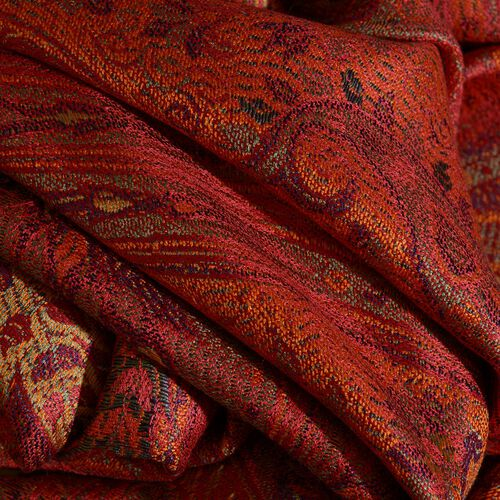 SILK MARK - 100% Superfine Silk Orange and Multi Colour Jacquard Jamawar Scarf with Tassels (Size 180x70 Cm) (Weight 125 - 140 Gms)
