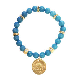 Set of 3 Blue Quartzite and Russian Amazonite Stretchable Bracelet (Size 8) in Yellow Gold Bond 387.000 Ct.