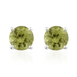 Hebei Peridot (Rnd) Stud Earrings (with Push Back) in Sterling Silver 2.000 Ct.