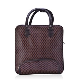 Chocolate Colour Checks Pattern Weekend Bag with External Zipper Pocket (Size 37x36x17 Cm)