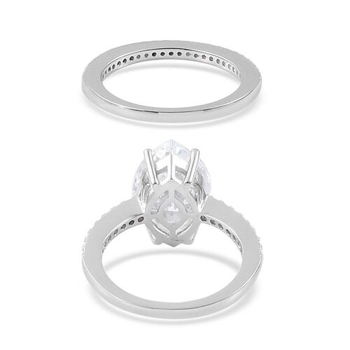 ELANZA AAA Simulated White Diamond 2 Ring Set in Platinum Overlay Sterling Silver