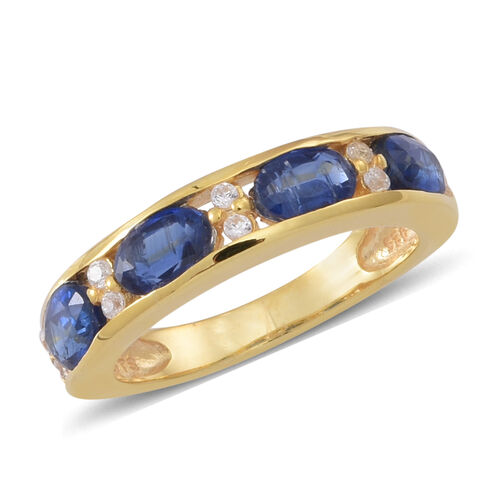 Himalayan Kyanite (Ovl), Natural Cambodian White Zircon Ring in 14K Gold Overlay Sterling Silver 3.000 Ct.