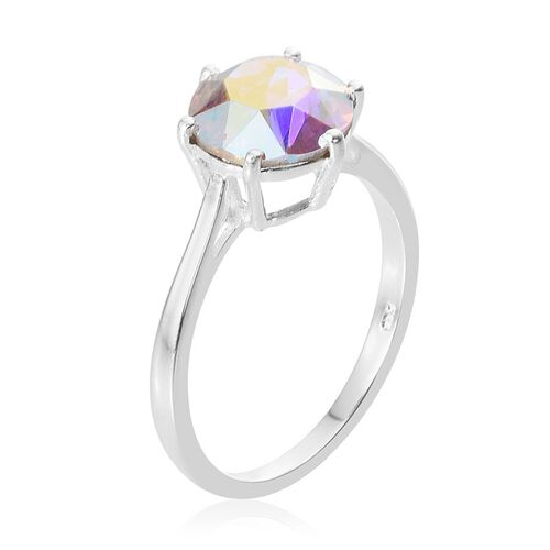 Set of 4 - J Francis Crystal from Swarovski - White Crystal (Rnd), Topaz Colour Crystal, Aurore Boreale Crystal and Fuchsia Crystal Solitaire Ring in Sterling Silver