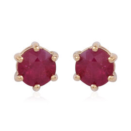 Signature Collection-ILIANA 18K Y Gold AAAAA Burmese Ruby (Rnd) Stud Earrings (with Screw Back) 1.000 Ct.