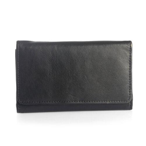 Genuine Leather RFID Blocker Black Colour Ladies Purse(15.5x8.5 Cm)