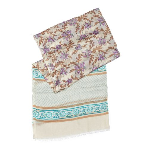 Purple, White and Multi Colour Floral Printed Scarf (Size 180x70 Cm)