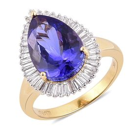 ILIANA 18K Y Gold AAA Tanzanite (Pear 6.75 Ct), Diamond Ring 7.500 Ct.