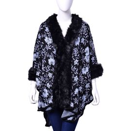 Designer Inspired White Colour Floral Pattern Black Ruana with Faux Fur on Sleeve and Collar (Size 100x70 Cm)