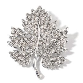 AAA White Austrian Crystal Maple Leaf Brooch in Silver Tone