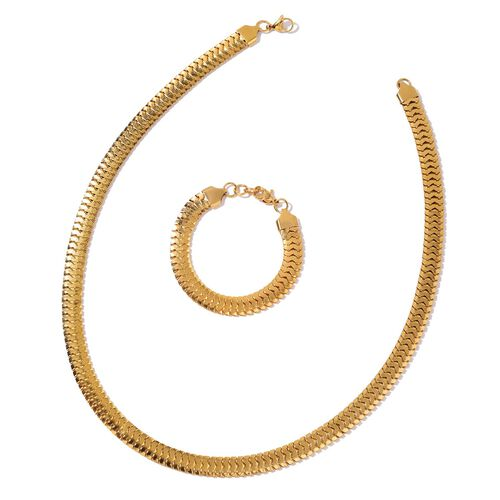 Snake Chain Necklace (Size 24) and Bracelet (Size 7.5 with 1 inch Extender) in Yellow Gold Tone with Stainless Steel