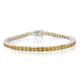 9K W Gold AA Yellow Sapphire (Sqr) Tennis Bracelet (Size 7.5) 12.000 Ct.
