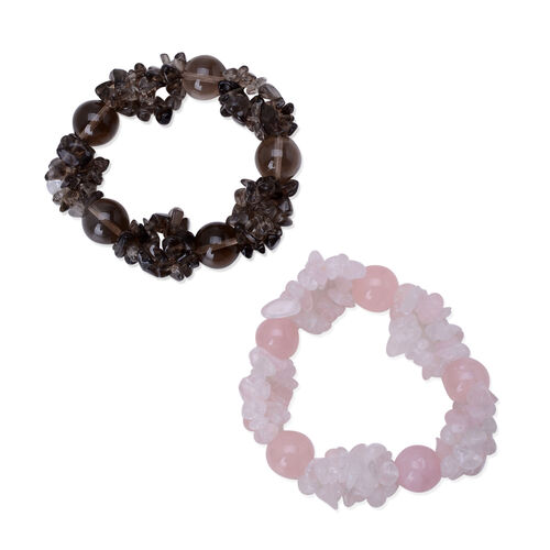 Set of 2 - Brazilian Smoky Quartz and Rose Quartz Stretchable Bracelet (Size 7.50)