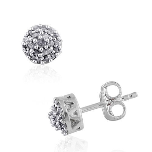Diamond Sterling Silver Platinum Overlay Earring  0.25  Ct.