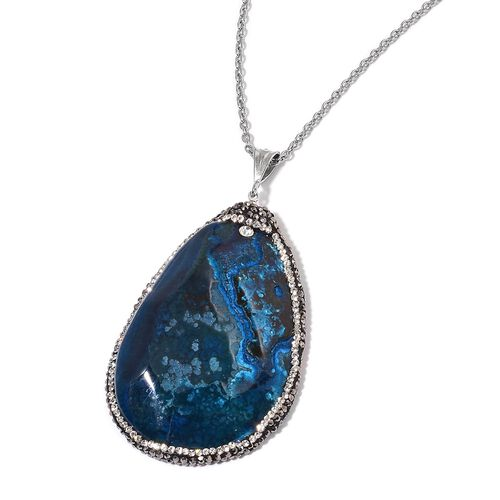 Dyed Blue Agate, Black and White Austrian Crystal Pendant With Chain (Size 36) in Silver Tone with Stainless Steel 160.000 Ct.