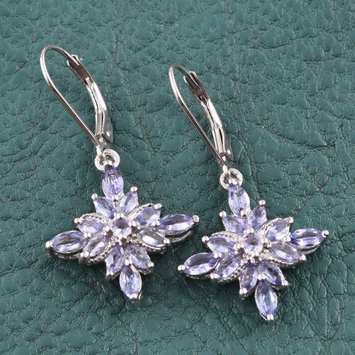 Tanzanite (Mrq), Diamond Lever Back Earrings in Platinum Overlay Sterling Silver 2.010 Ct.