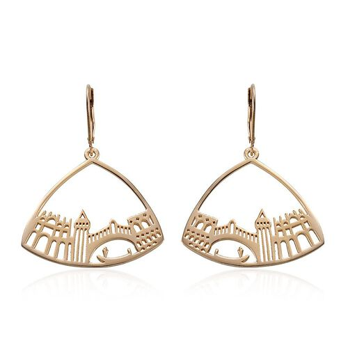 14K Gold Overlay Sterling Silver Lever Back Earrings, Silver wt 5.00 Gms.