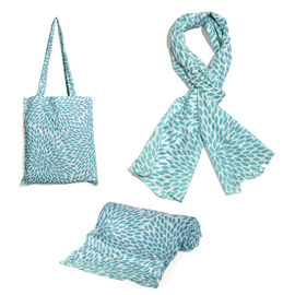 100% Cotton Turquoise Colour Leaves Printed White Colour Towel (Size 160x90 Cm), Pareo (Size 160x50 Cm) and Bag (Size 35x33 Cm)