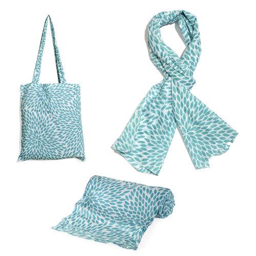 100% Cotton Turquoise Colour Leaves Printed White Colour Towel (Size 160x90 Cm), Pareo (Size 160x50 Cm) and Bag (Size 35x33 Cm)