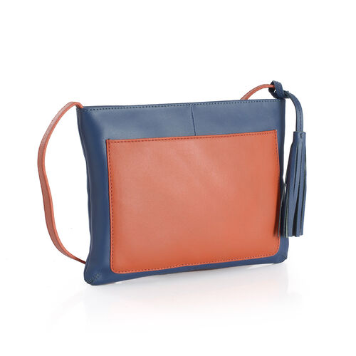 Genuine Leather Blue and Orange Colour Sling Bag with Tassels (Size 26x19 Cm)